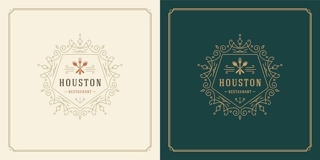 Restaurant logo   illustration kitchen tools silhouettes, good for restaurant menu and cafe badge. Premium Vector