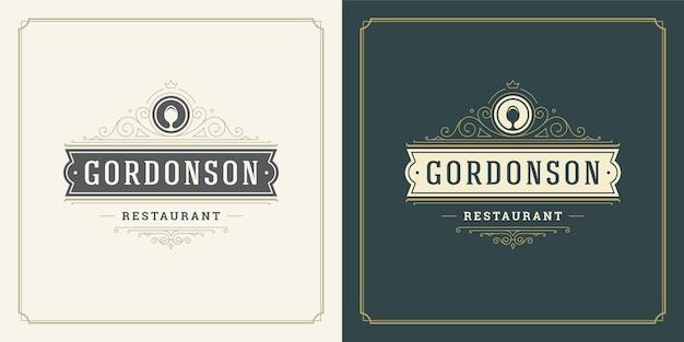 レストランメニューやカフェバッジに最適なレストランロゴイラストスプーンシルエット。 Premiumベクター
