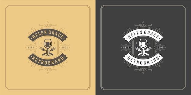 Иллюстрация логотипа ресторана силуэт бокала для вина, хороший для меню ресторана и значка кафе. Premium векторы