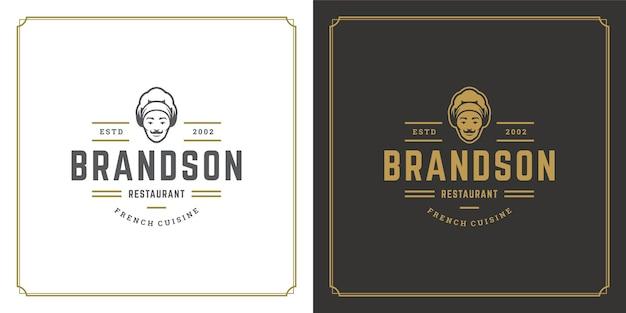 Ресторан логотип шаблон иллюстрации шеф-повар лицо человека в шляпе силуэт Premium векторы