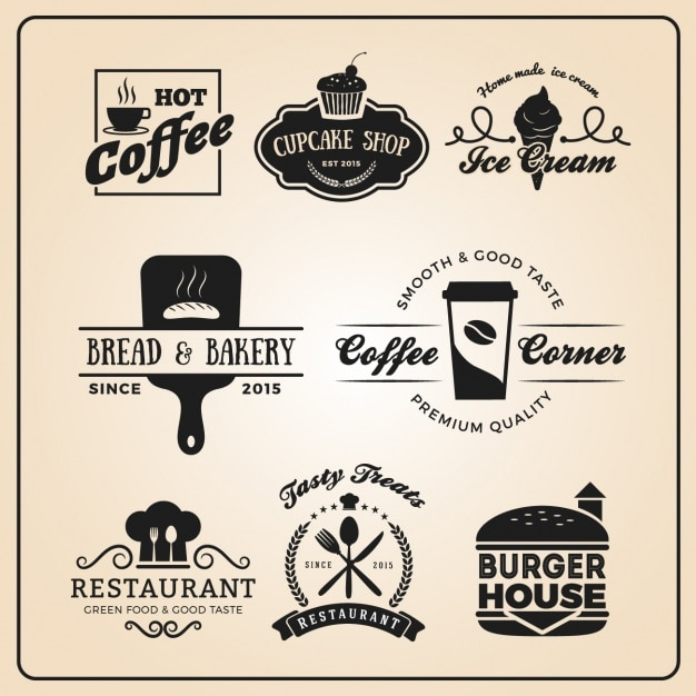restaurant logo templates collection vector free download