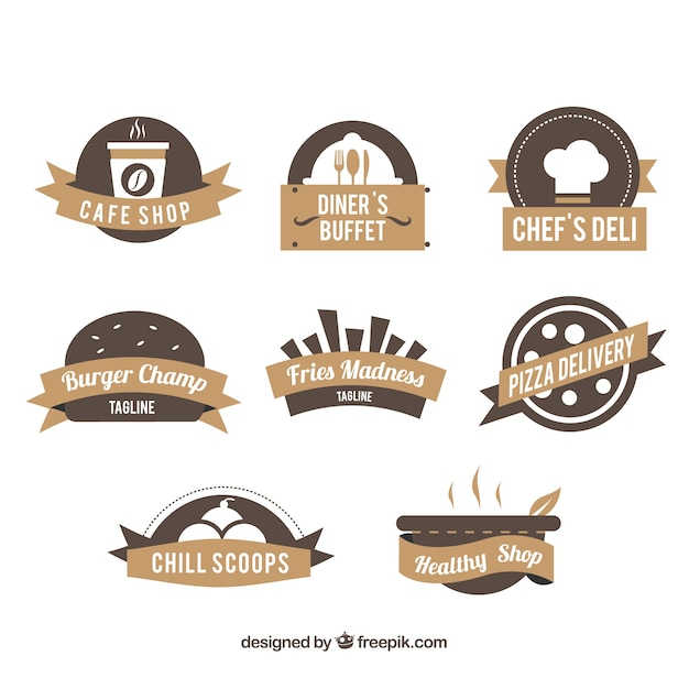 Restaurant logos, brown colors Free Vector