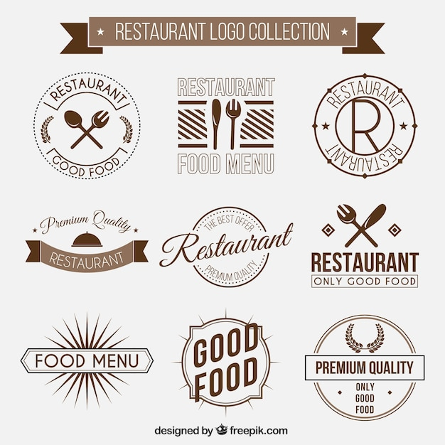 Restaurant Logos Collection In Vintage Style Premium Vector