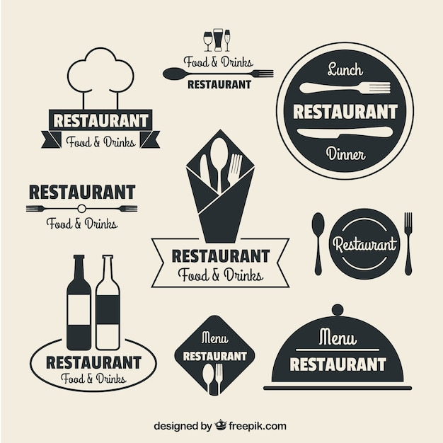 Restaurant logos in flat design vector free download