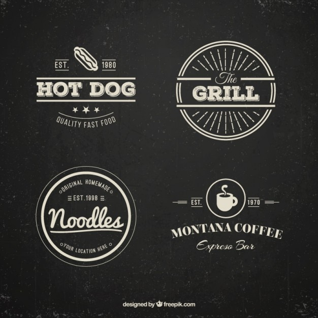 restaurant logos pack in vintage style vector free download