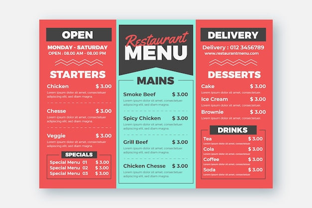 Restaurant menu and delivery option template Free Vector