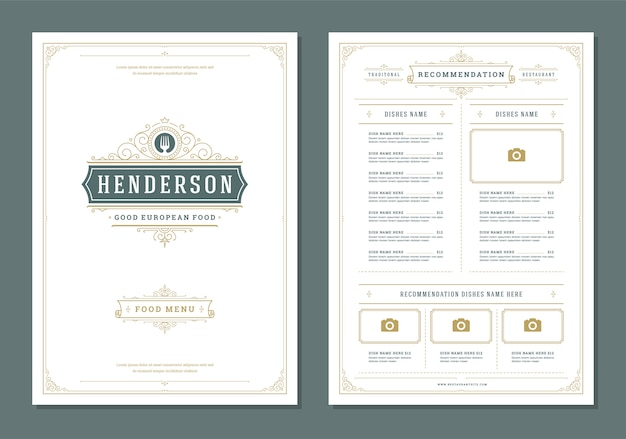 Restaurant menu design and label vector brochure template. Premium Vector