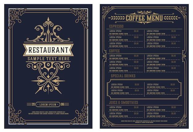 ビンテージロゴのレストランメニューデザインベクトルパンフレットテンプレート Premiumベクター