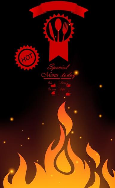 Restaurant menu design with flame Premium Vector