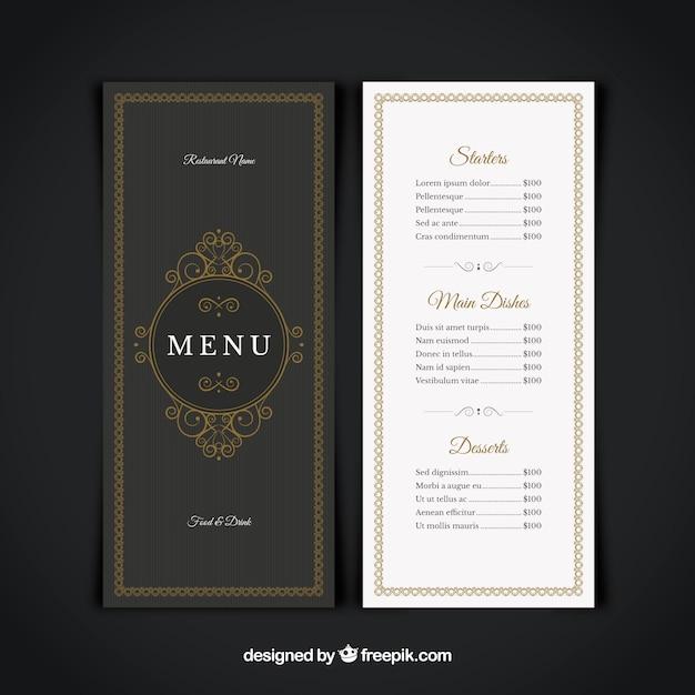 Restaurant menu, elegant style