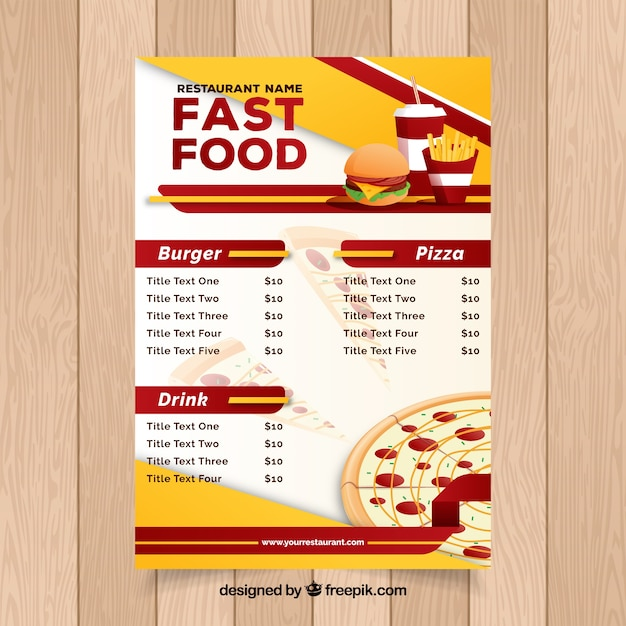 Restaurant menu fast food vector free download