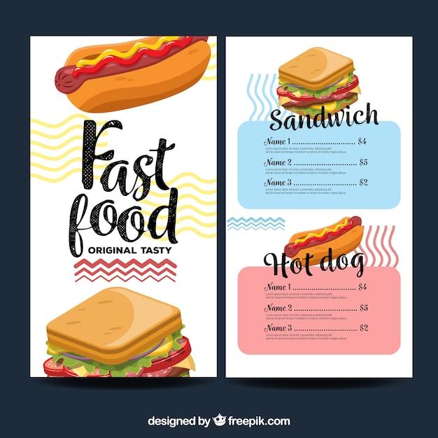 Restaurant menu, fast food