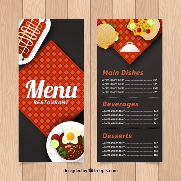 Restaurant menu, flat style