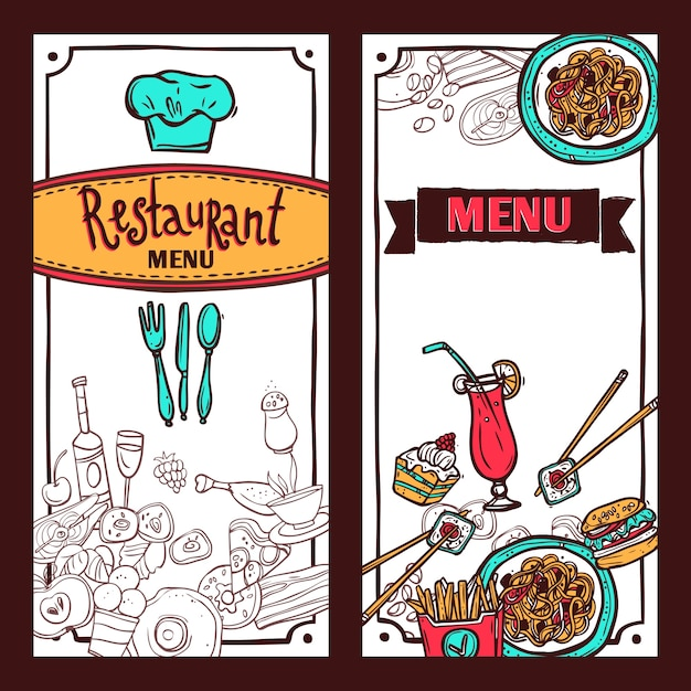 Fast Food Restaurant Menu Symbols With Sushi And Spaghetti Vertical