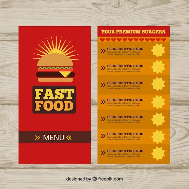 Restaurant menu for fast food
