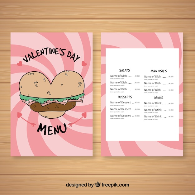 Restaurant Menu For Valentines Day With Burger Vector Free Download