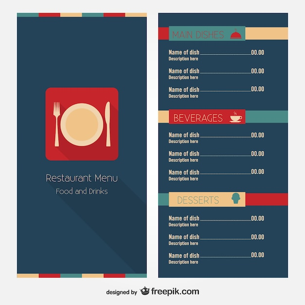 Restaurant menu free layout design vector download