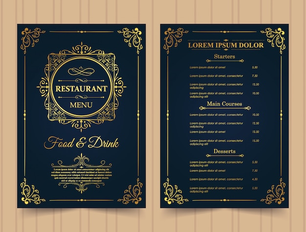Restaurant menu gold template. Premium Vector
