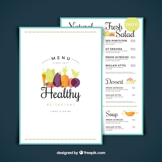 Restaurant menu, healthy food