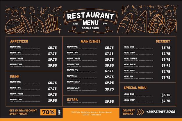 Restaurant menu horizontal format Free Vector