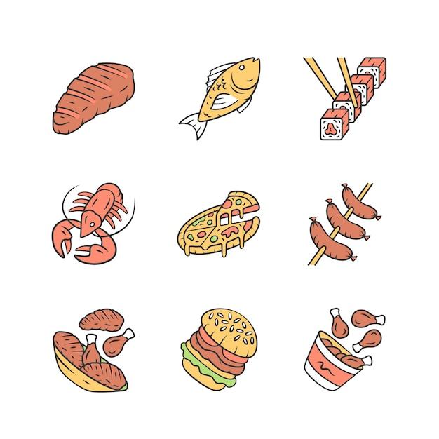 Restaurant menu icons set. Premium Vector