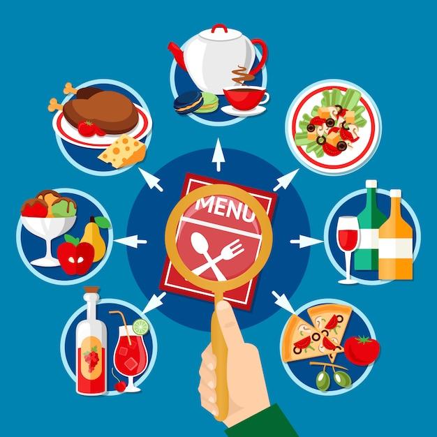 Иллюстрация меню ресторана Бесплатные векторы