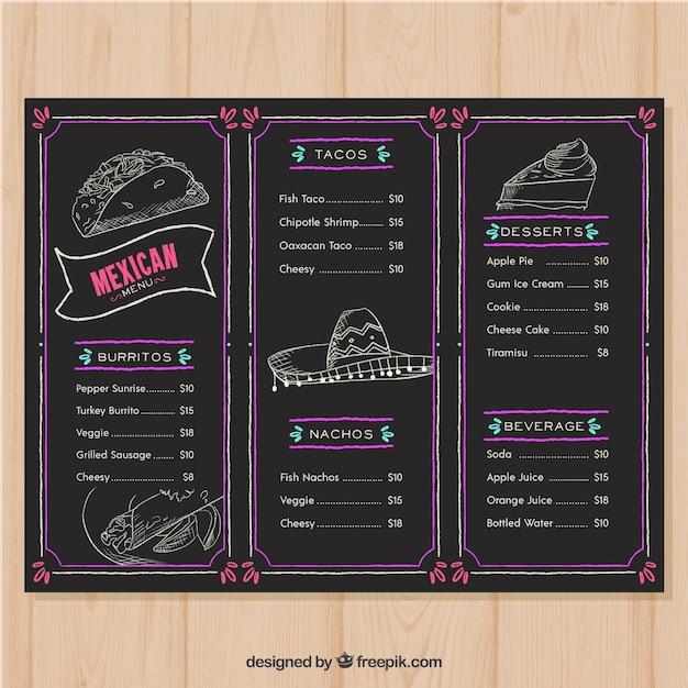 Restaurant menu in blackboard style Free Vector