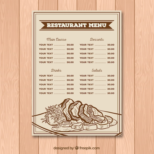 Restaurant menu in retro style with drawings
