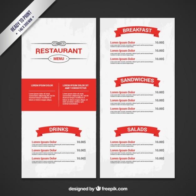 Restaurant menu in white and red colors Vector – Restaurant Menu