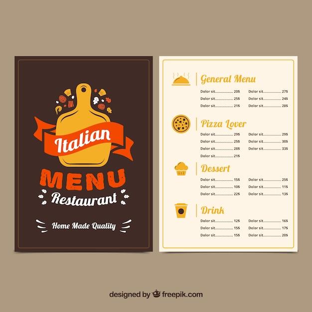 Restaurant menu, italian food