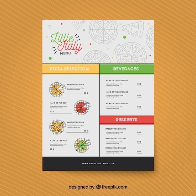 Restaurant menu, little italy