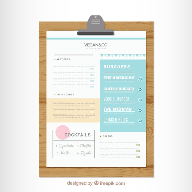 Restaurant Menu On A Table Vector Free Download - Table 23 menu