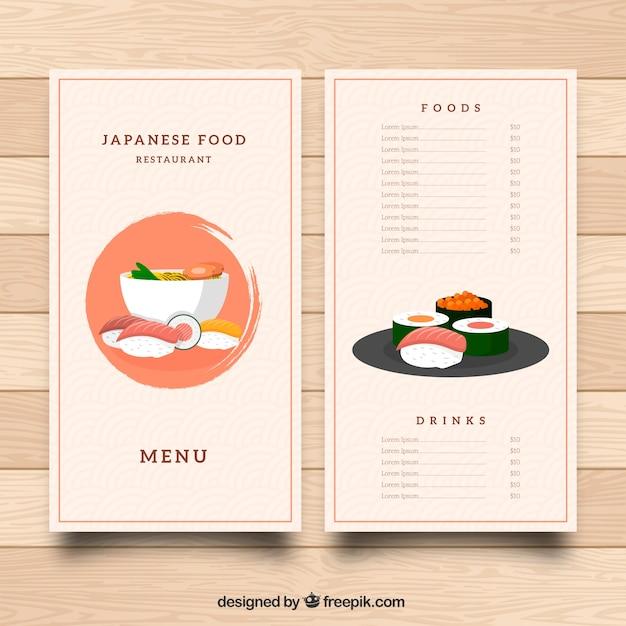 Restaurant menu, oriental food