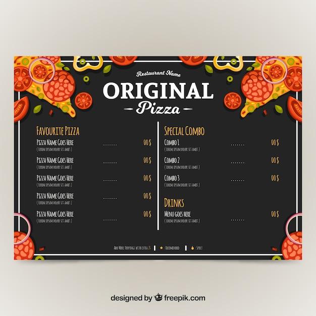 Restaurant menu, original pizza
