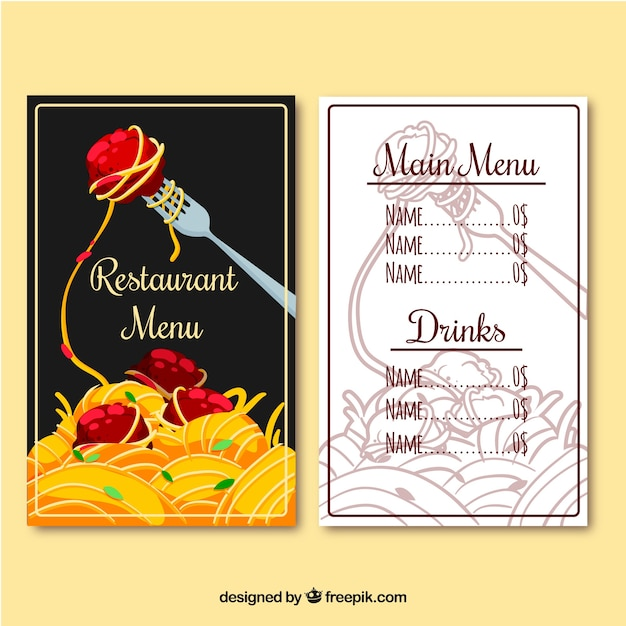 Restaurant menu, pasta Free Vector