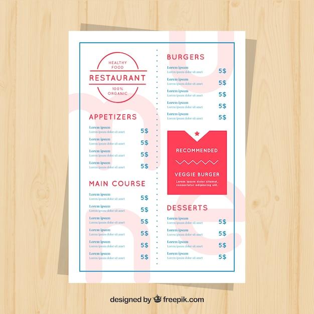 Restaurant menu, red and blue