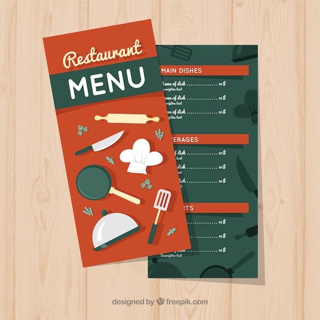 Restaurant menu, red color