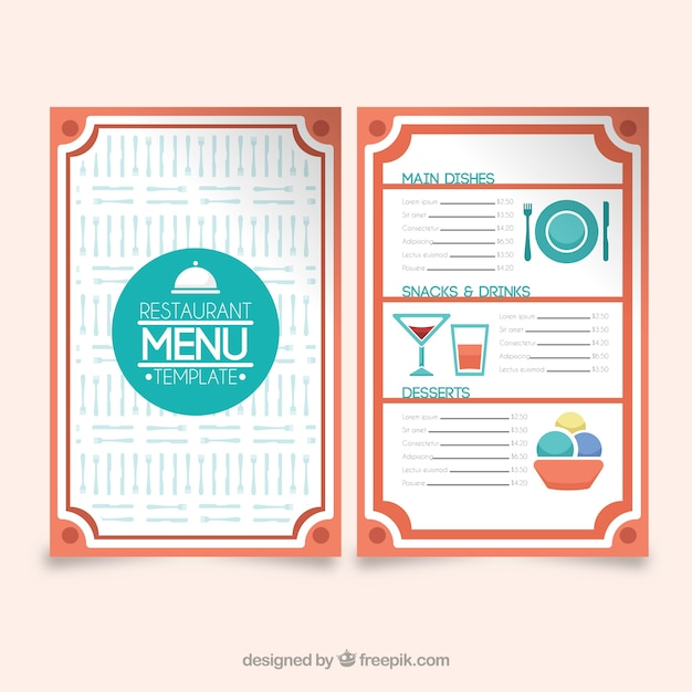 Restaurant menu, red frames