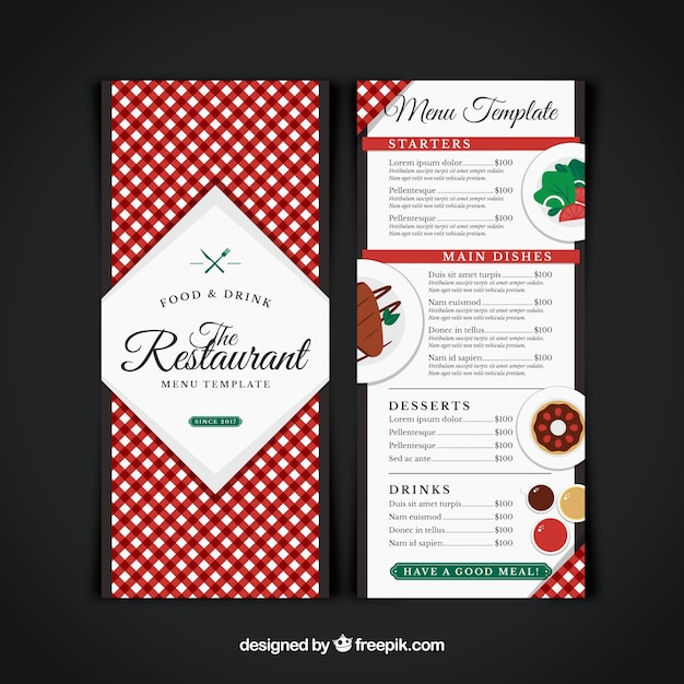 Restaurant menu, red tablecloth