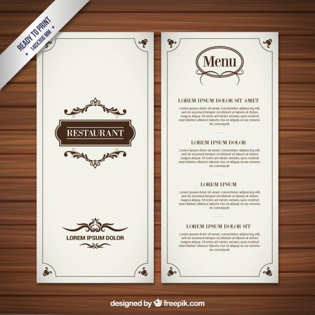 Restaurant menu in retro style Free Vector
