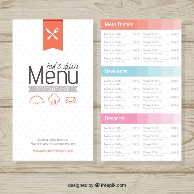 Restaurant menu retro template