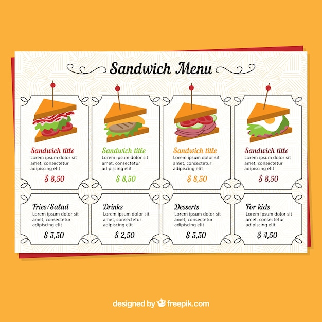 Restaurant Menu Sandwich Vector Free Download
