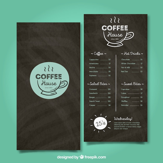Restaurant menu template in blackboard style Free Vector