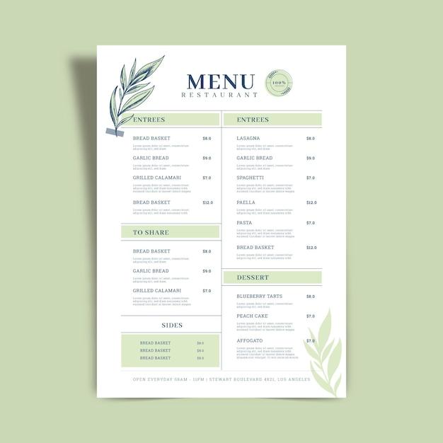 Concetto di modello di menu del ristorante Vettore gratuito