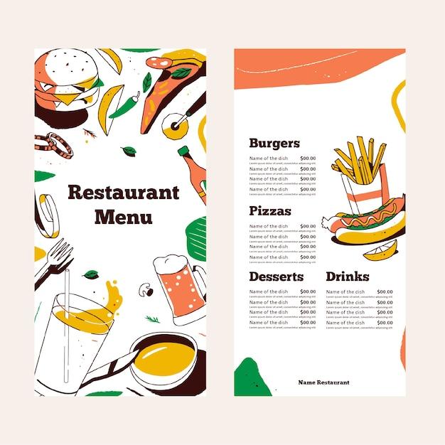 Restaurant menu template design Free Vector