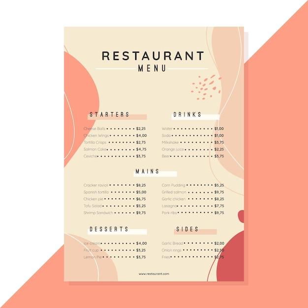 レストランメニューテンプレートデザイン 無料ベクター