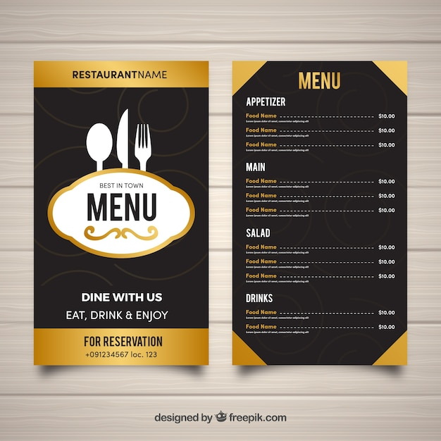Restaurant Menu Template In Flat Design Vector Free Download