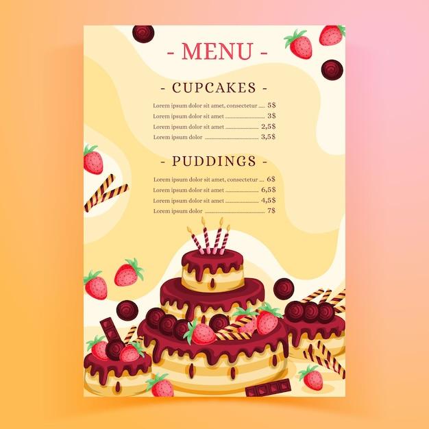 Шаблон меню ресторана для дня рождения Бесплатные векторы