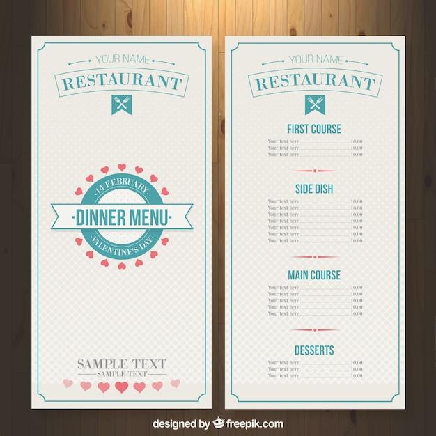 Restaurant menu template for valentine day Vector – Restaurants Menu Templates Free
