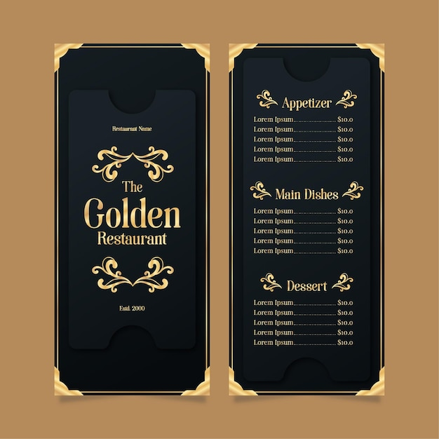 Restaurant menu template golden with black Free Vector
